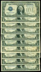 10 nice circulated 1928-A $1 'Funny Backs' Silver Certs