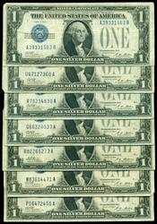 7 Series of 1928-A $1 'Funny Backs' Silver Certificates