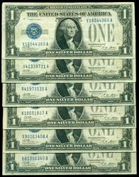 6 Very nice 1928-A $1 'Funny Backs' Silver Certificates