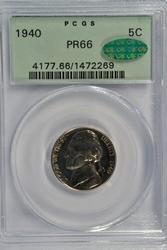 Super PCGS PR66 1940 Jefferson Nickel with CAC sticker