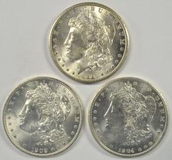 3 Diff. very nice BU 'O' Mint Morgan Silver Dollars