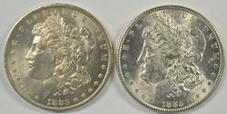 Choice BU 1883-O & 1885-P Morgan Silver Dollars