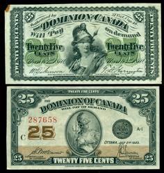 Nice 1870 & 1923 Twenty-Five Cent Canada Notes