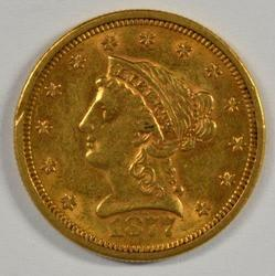 Lovely Scarce 1877-S US $2.50 Liberty Gold Piece