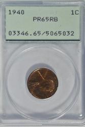 Gem Proof 1940 Lincoln Cent. Old PCGS PR65RB holder