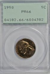 Superb Gem Proof 1950 Jefferson Nickel. Old PCGS PR66