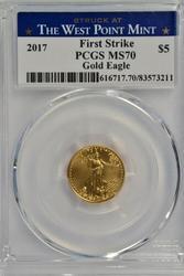2018 PCGS MS70 $5 Gold Eagle 1st Strike West Point Mint