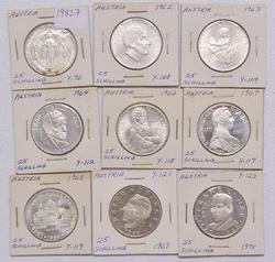 9 Different Austria Silver 25 Schilling Commemerotives