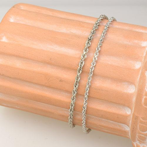 A Pair of 7 inch White Gold Rope Bracelets, 14k
