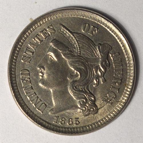 1865 3 Cent Nickel Uncirculated