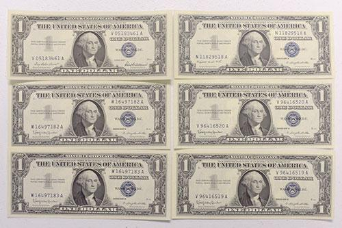 Various 1957 Choice CU Silver Certificates