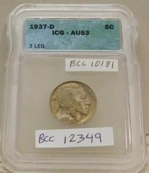 3-Leg Buffalo Nickel, 1937-D, ICG AU-53, very rare