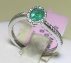 Ladies 14kt White Gold Emerald & Diamond Ring