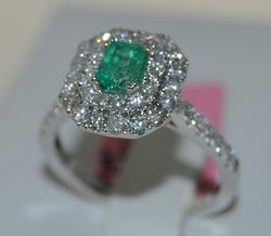 18K White Gold Emerald Cocktail Ring with Diamonds