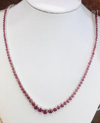 40+CTW Natural Ruby Tennis Necklace in 14kt Gold