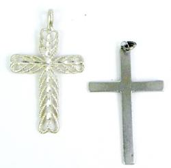 2 Large Sterling Silver Cross Pendants