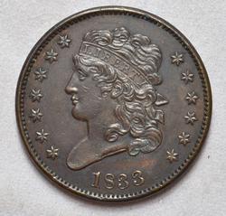 Super UNC 1833 Half Cent