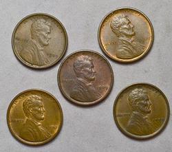 5 x 1909 VDB Lincoln Cents, AU/BU Two Close RB