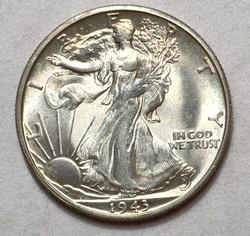 1943-S Gem UNC Walking Liberty Half Dollar