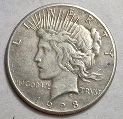 1928 Key Peace Silver Dollar