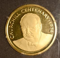 1974 Proof $100 Gold  Churchill Centenary, Cayman Islands