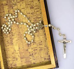 Elegant Sterling Silver Rosary on 26in Chain
