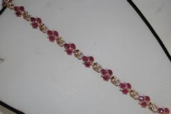 Lovely 14K Rose Gold Ruby & Diamond Bracelet