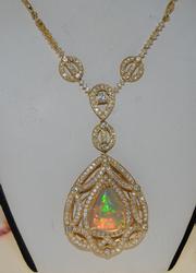 High Quality 18kt Rose Gold 13+ctw Opal & Diam Pendant