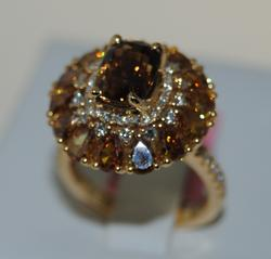 5+ctw Fancy Colored Diamond & Crysoberyl Ring, 18kt