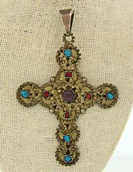Sterling Silver Cross Multi Gemstone Pendant