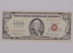 Nearly Unc Series of 1966 $100 Red Seal