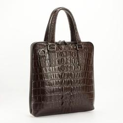 Crocodile print head layer cowhide men's handbags vertical section