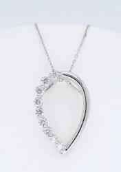 18K White Gold Pear Shaped Necklace