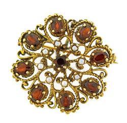 14kt Gold Garnet & Pearl Pin