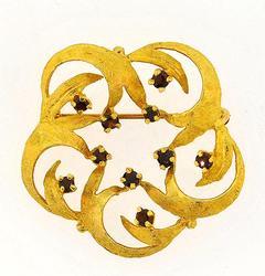 14kt Gold Garnet Brooch