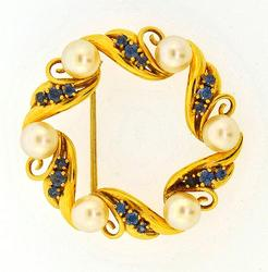 14kt Gold Sapphire & Pearl Pin
