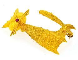 18kt Yellow Gold Cat Pin