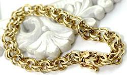 Heavy Classic 14K Charm Bracelet