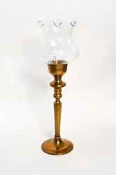 Vintage Brass Candle Holder With Clear Glass Chimney
