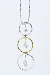14K Two Tone Gold Dancing Diamonds Necklace