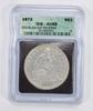 AU55 1872 Seated Liberty Silver Dollar - With Motto - ICG Graded