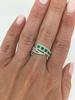 14K White Gold Emerald & Diamond Ring
