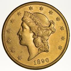 1890-S $20.00 Liberty Head Gold Double Eagle - Circulated