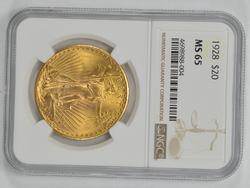 MS65 1928 $20.00 Saint-Gaudens Gold Double Eagle - NGC Graded