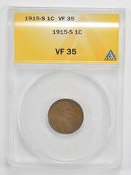 VF35 1915-S Lincoln Wheat Cent - ANACS Graded