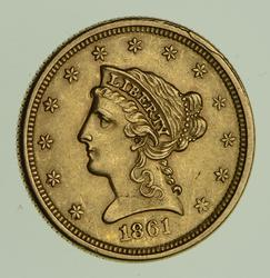 1861 $2.50 Liberty Head Gold Quarter Eagle - Circulated