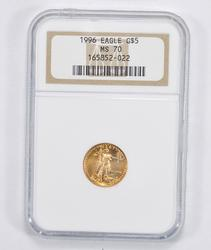 MS70 1996 $5.00 1/10 Oz. Gold American Eagle - NGC Graded