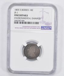 JR-1 Fine Details 1805 Draped Bust Dime - 5 Berries - NGC Graded