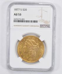 AU53 1877-S $20.00 Liberty Head Gold Double Eagle - NGC Graded