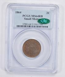 MS64RB 1864 CAC Shield Nickel - Small Motto - PCGS Graded